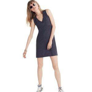 Madewell V Neck Pocket Tank Dress in Dark Grey